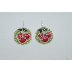 boucles d'oreilles cerises/vintage