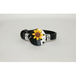 bracelet noir  tournesol et pois