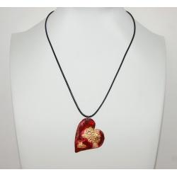 pendentif coeur rouge feuille d or