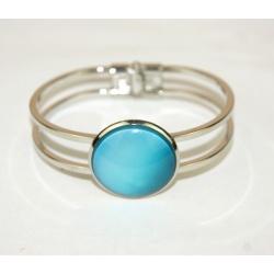bracelet acier inoxydable et cabochon turquoise