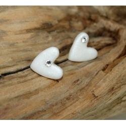 clous d 'oreilles coeur et strass