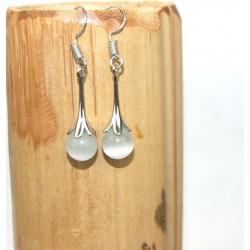 boucles d'oreilles cérémonie avec perle blanche