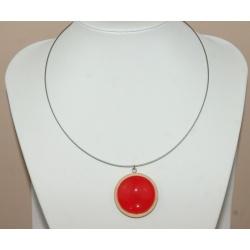 pendentif  cabochon rouge sur support bois