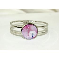 bracelet acier inoxydable et cabochon verre  rose
