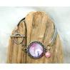 bracelet lanières argentées et cabochon verre rose