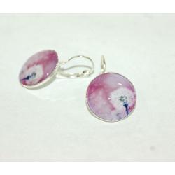 boucles d'oreilles cabochon de verre pissenlit et rose