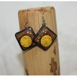 boucles d'oreilles   polymère marron et moutarde