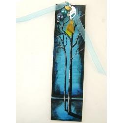 marque page arbre peint à la  main
