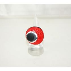 bague réglable   polymère moderne ronde rouge et noire
