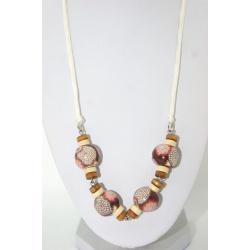 Collier artisanal perles polymères bois et coton