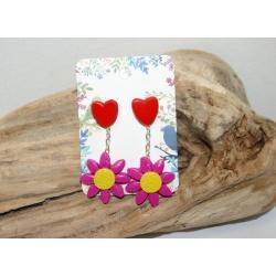 clous d oreilles coeur et marguerite fushia