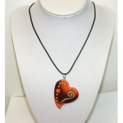 pendentif  de créateur coeur orange et doré