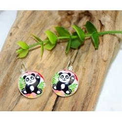 boucles d oreilles artisanales  panda