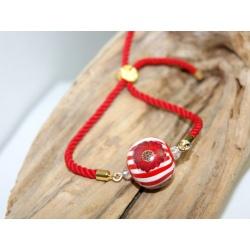 bracelet réglable cordelette rouge et perle polymère