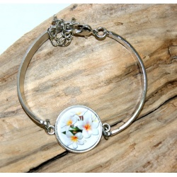 bracelet acier inoxydable et fleur de tiaré