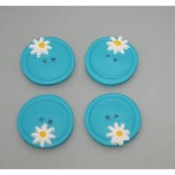 boutons polymère,paquerette/turquoise 3cm