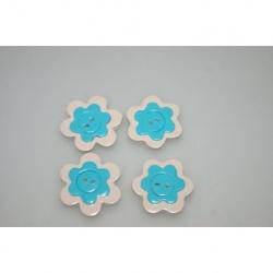 bouton polymère fleur turquoise 3 cm