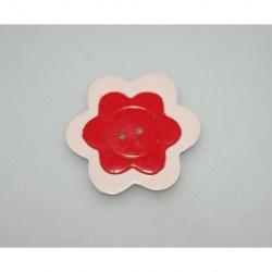 bouton polymère fleur rouge 4 cm