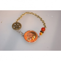 bracelet steampunk orange et bronze